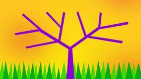 Árbol con las manzanas contra el cielo amarillo, el sol y la hierba verde Dibujo positivo de la historieta,