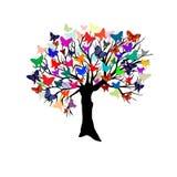 Árbol con las mariposas Imagen de archivo