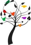 Árbol con las mariposas Fotos de archivo libres de regalías