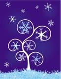 Árbol con los copos de nieve ilustración del vector
