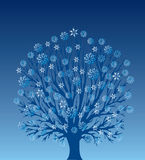 Árbol con los copos de nieve Stock de ilustración