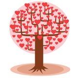 Árbol con los corazones en vez de las hojas Fotos de archivo libres de regalías