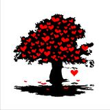 Árbol con los corazones rojos Foto de archivo libre de regalías