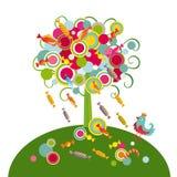 Árbol con los dulces Foto de archivo libre de regalías