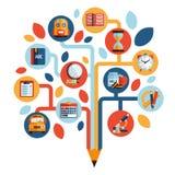 Árbol con los iconos de la educación ilustración del vector