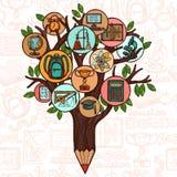 Árbol con los iconos de la educación stock de ilustración