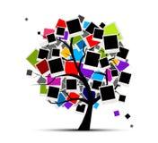Árbol con los marcos de la foto, cuadro de las memorias del separador de millares Imagen de archivo