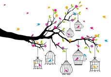 Árbol con los pájaros y los birdcages, vector Fotos de archivo libres de regalías