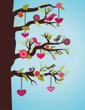Árbol con los pájaros y los corazones stock de ilustración