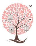 Árbol con los pájaros y los corazones Imagen de archivo