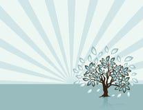 Árbol con los rayos en el tiempo de resorte ilustración del vector