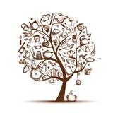 Árbol con los utensilios de la cocina, gráfico del arte de bosquejo Fotos de archivo libres de regalías
