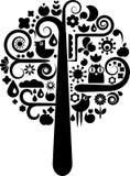 Árbol con una colección de iconos de la naturaleza ilustración del vector