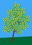 Árbol con vector de las flores Imagen de archivo