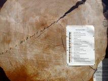 Árbol con yearrings y datos históricos Foto de archivo libre de regalías