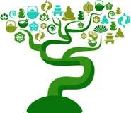 Árbol con zen e iconos e insignias de la yoga ilustración del vector
