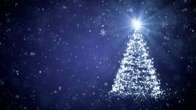 Árbol creciente del Año Nuevo con los copos de nieve que caen libre illustration