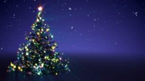 Árbol creciente del Año Nuevo con los copos de nieve que caen ilustración del vector
