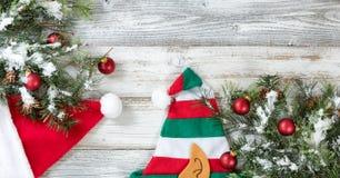 Árbol de abeto áspero de la Navidad Nevado con los conos y los sombreros para el holid Foto de archivo libre de regalías