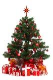 Árbol de abeto adornado de la Navidad Imagen de archivo