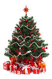 Árbol de abeto adornado de la Navidad Foto de archivo libre de regalías