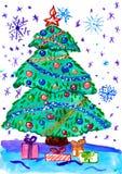 Árbol de abeto de la Navidad con la nieve, pintura de la acuarela en el papel Imagen de archivo