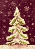 Árbol de abeto de la Navidad con nieve en la oscuridad, pintura de la acuarela en el papel Foto de archivo