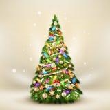 Árbol de abeto de la Navidad en beige elegante EPS 10 Foto de archivo libre de regalías