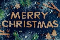 Árbol de abeto de la Navidad en fondo de la pizarra Fotos de archivo libres de regalías