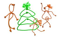 Árbol de abeto del Año Nuevo de la cuerda Fotografía de archivo