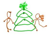 Árbol de abeto del Año Nuevo de la cuerda Imágenes de archivo libres de regalías