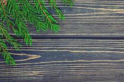 Árbol de abeto de la Navidad en fondo de madera Imagen de archivo libre de regalías