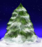 Árbol de abeto Nevado bajo las estrellas Foto de archivo libre de regalías
