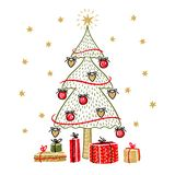 Árbol de abeto y cajas de regalo aisladas en el fondo blanco stock de ilustración
