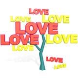 Árbol de amor aislado en blanco Imágenes de archivo libres de regalías