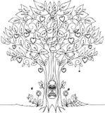 Árbol de amor con el búho Foto de archivo