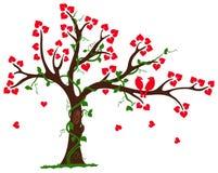 Árbol de amor con el liana y la vid del corazón ilustración del vector