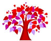 Árbol de amor con las hojas de la dimensión de una variable del corazón Foto de archivo libre de regalías