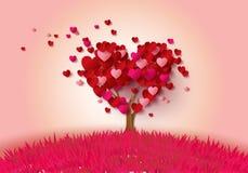Árbol de amor con las hojas del corazón stock de ilustración