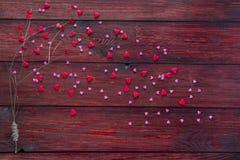 Árbol de amor con las hojas del corazón Foto de archivo