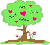 Árbol de amor con los corazones y las flores Foto de archivo libre de regalías