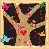 Árbol de amor de la tarjeta del día de San Valentín Fotografía de archivo