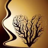 Árbol de amor de oro abstracto Foto de archivo libre de regalías