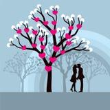 Árbol de amor del invierno Imágenes de archivo libres de regalías