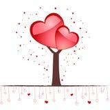 Árbol de amor del `s de la tarjeta del día de San Valentín Fotos de archivo