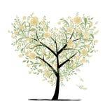 Árbol de amor floral para su diseño, forma del corazón Foto de archivo libre de regalías