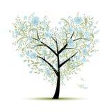 Árbol de amor floral para su diseño, forma del corazón Foto de archivo