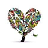 Árbol de amor hecho de plumas coloridas stock de ilustración