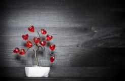 Árbol de amor hermoso con los corazones rojos en él Fotografía de archivo libre de regalías