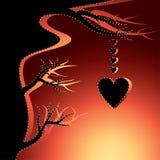 Árbol de amor negro con los corazones Foto de archivo